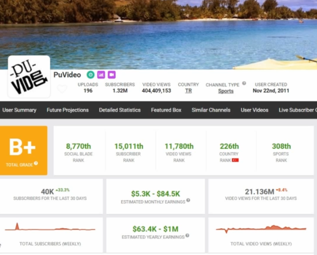 PHOTOS OF SOCIAL BLADE EARNING OF PUVIDEOS