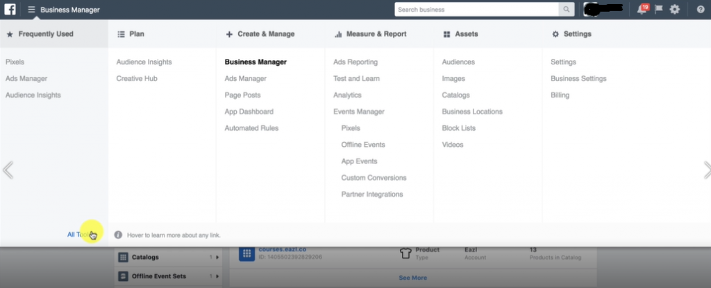 ALL TOOLS in BUSINESS MANAGER- Facebook Ads Marketing Blueprint Certification