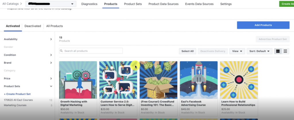 ADD PRODUCTS FOR MANY PRODUCT UPLOADING AT ONCE for Facebook Ads Marketing