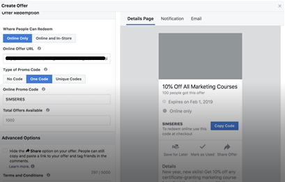 PHOTO OF PASTING THE LINK INTO OFFER URL: FACEBOOK ADS MARKETING BLUEPRINT