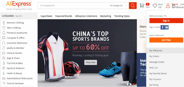 PHOTO OF SIGN IN IN TO ALIEXPRESS: eBay Dropshipping Business Masterclass 2021