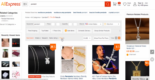 PHOTO OF FILTERS in Aliexpress Search Result