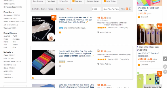 PHOTO OF LOW PRICED ITEMS AFTER SORT BY PRICE IN ALIEXPRESS