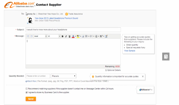 PHOTO OF CONTACT SUPPLIER PAGE IN ALIBABA: Ebay Dropshipping Business MasterClass 2021