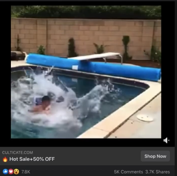 PHOTO OF FACEBOOK AD FOR SWIMMING FLOATING BED: dropshipping product research