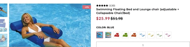 PHOTO OF COMPETITOR PRODUCT PAGE OF SWIMMING FLOATING BED: dropshipping product research