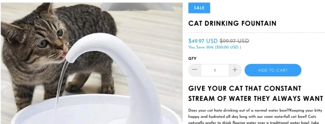 COMPETITOR PRODUCT PAGE FOR PET DRINKING FOUNTAIN