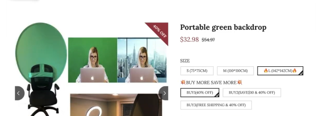 COMPETITOR PRODUCT PAGE FOR PORTABLE GREEN BACKDROP: top evergreen list of winning products for dropshipping store