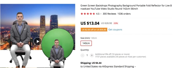 PHOTO OF ALIEXPRESS PRODUCT PAGE FOR PORTABLE GREEN BACKDROP