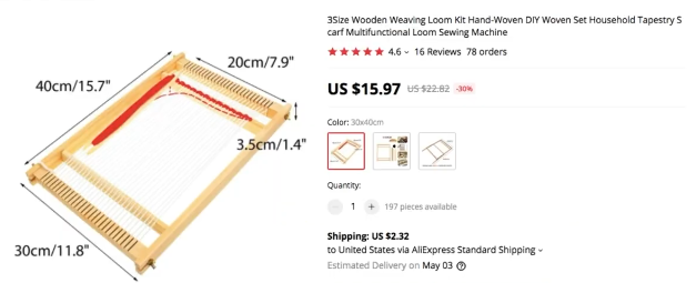 PHOTO OF ALIEXPRESS PRODUCT PAGE FOR WEAKING KIT