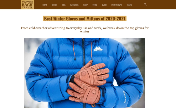 PHOTO OF FIRST SEARCH RESULT ON BEST WINTER GLOVES