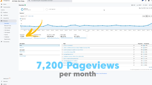 PHOTO OF PAGEVIEW ANALYTICS OF THE WEBSITE : How to start Affiliate Marketing and Make Money for Beginners