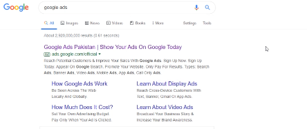 GOOGLE ADS FREE COURSE FOR BEGINNERS: PHOTO OF GOOGLE ADS ACCOUNT SEARCH ON GOOGLE