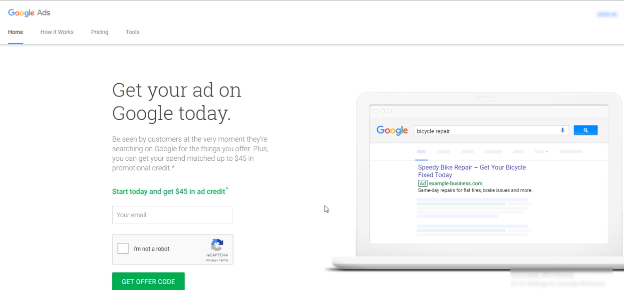 GOOGLE ADS FREE COURSE FOR BEGINNERS: PHOTO OF GOOGLE ADS MANAGER GET STARTED PAGE