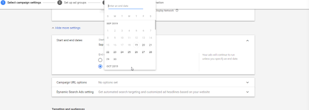 GOOGLE ADS TRAINING: PHOTO OF START AND END DATES IN MORE SETTINGS
