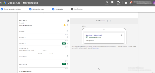 PHOTO OF CREATING THE AD INTERFACE IN GOOGLE AD ACCOUNT