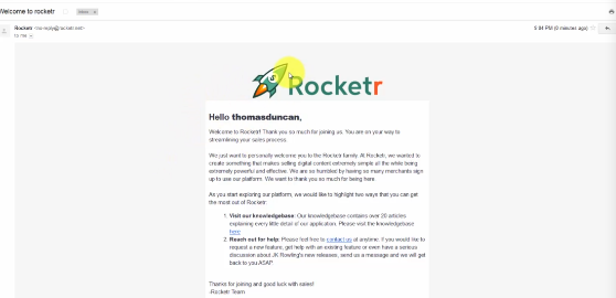 BITCOIN BUSINESS OPPORTUNITIES: PHOTO OF EMAIL INTO INBOX FROM ROCKETR