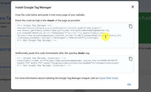 GOOGLE ANALYTICS INSIGHTS DATA: PHOTO OF CODE SNIPPETS OF TAG MANAGER THAT NEEDED TO INSTALL ON WEBSITE