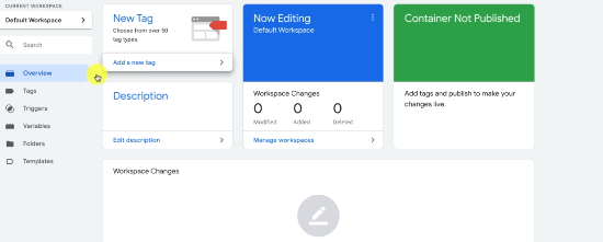 GOOGLE ANALYTICS EVENT TRACKING ID: PHOTO OF ADDING A NEW TAG USING OVERVIEW SECTION IN GOOGLE TAG MANAGER