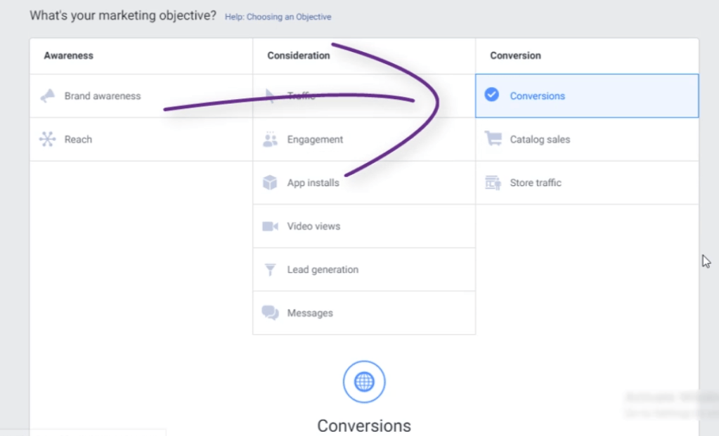 FACEBOOK LEAD GENERATION CAMPAIGN: PHOTO OF CLICKING INTO THE FACEBOOK CONVERSION CAMPAIGN