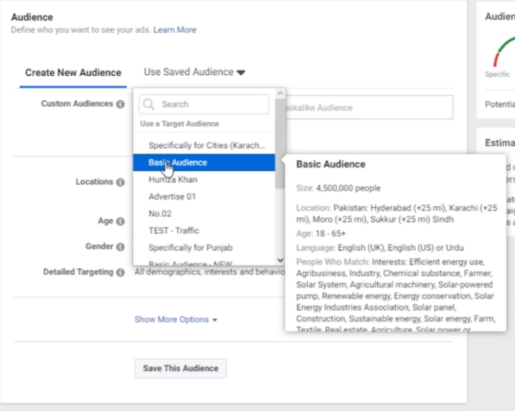 PHOTO OF SELECTING THE PREVIOUSLY MADE AUDIENCE FOR FACEBOOK ADS