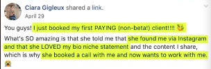 PHOTO OF FACEBOOK POST OF HAVING A SUCCESSFUL CLIENT THROUGH INSTAGRAM BIO FOR GIRLS